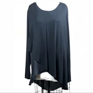 Draped Asymmetrical Hem Knit to Woven Top